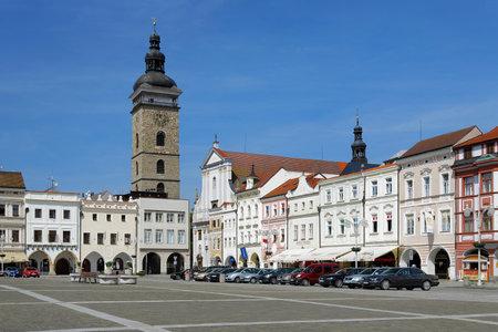 budejovice: Central square of Ceske Budejovice and Black Tower, Czech Republic
