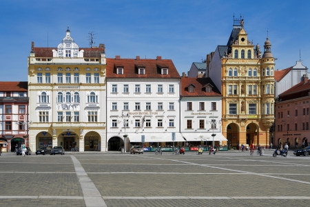budweis: Buildings in baroque style around the central square of Ceske Budejovice, Czech Republic