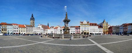 ceske: Panorama of the central square of Ceske Budejovice and fountain Samson, Czech Republic Editorial