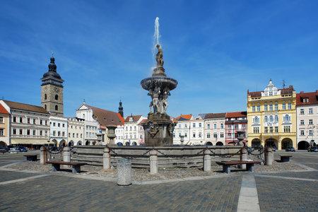 ceske: Fountain Samson on the central square of Ceske Budejovice and Black Tower, Czech Republic