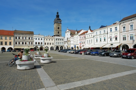 budweis: Central square of Ceske Budejovice and Black Tower, Czech Republic