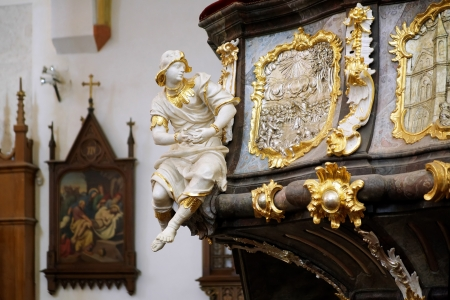 budejovice: Sculpture and decoration on the ambon of the Church of Presentation of Virgin Mary in Ceske Budejovice, Czech Republic