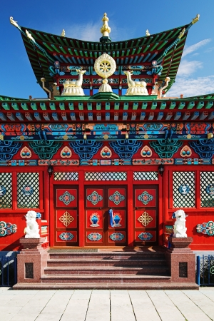 buryatia: Temple of the Pure Land - Fragment of facade, Ivolginsky Datsan  buddhist monastery , Buryatia, Russia