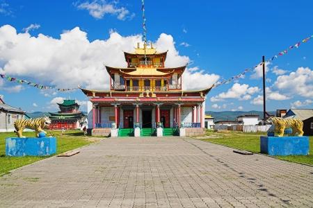 buryatia: Sockshin-dugan - main temple of Ivolginsky Datsan  buddhist monastery , Buryatia, Russia