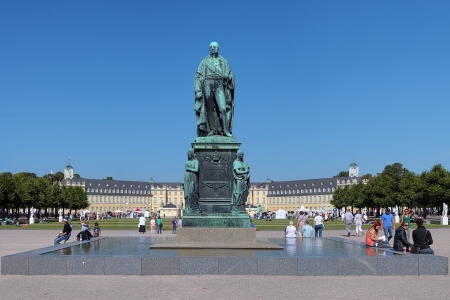 karlsruhe: Monument of Karl Friedrich von Baden in front of the Karlsruhe Palace, Germany Editorial