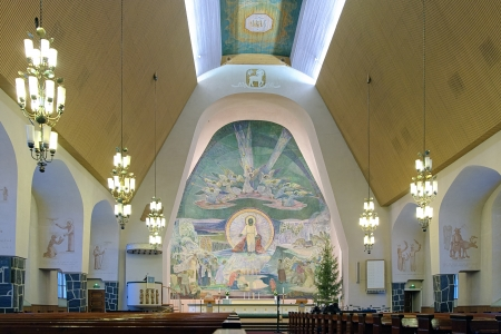 made in finland: Interior of the Rovaniemi Church with altar fresco The Source of Life made in 1951 by Swedish-speaking Finnish painter Lennart Segerstrale, Finnish Lapland, Finland Editorial