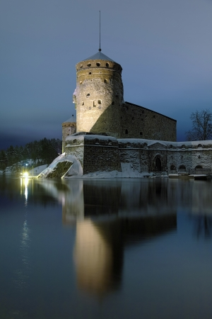 Castle Olavinlinna in winter evening, Savonlinna, Finland