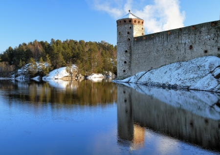 Castle Olavinlinna in winter, Savonlinna, Finland