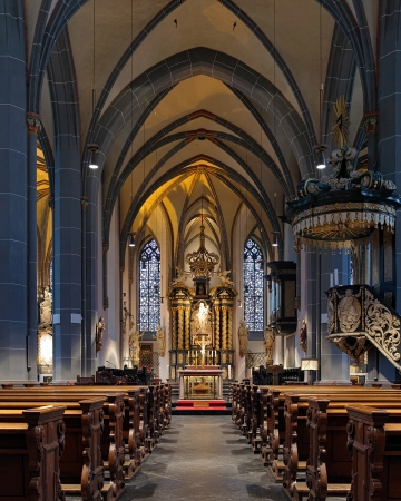 Interior of St Lambertus Basilica in Dusseldorf, Germany