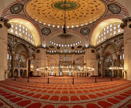 Interior of the Suleymaniye Mosque in Istanbul, Turkey