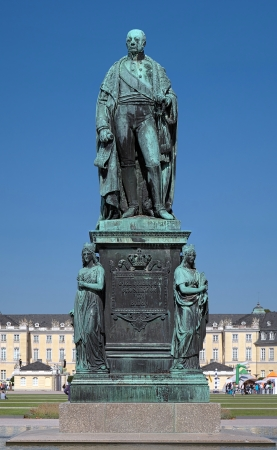 karlsruhe: Monument of Karl Friedrich von Baden in front of the Karlsruhe Palace, Germany Stock Photo
