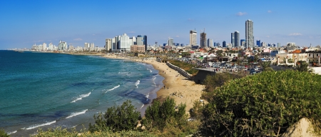 Panorama of Tel-Aviv coastline from Jaffa, Israel photo
