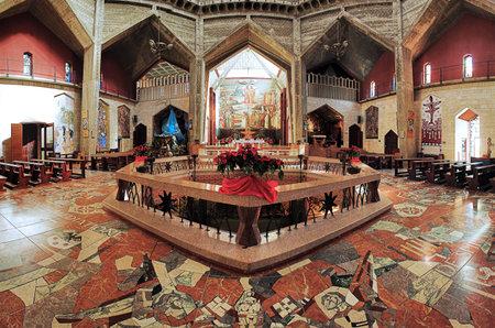 annunciation: Interior of the Basilica of the Annunciation in Nazareth, Israel Editorial