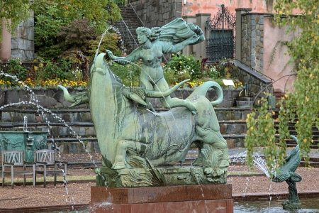 carl: Europe and the Bull Fountain by Carl Milles in Millesgarden sculpture garden in Stockholm, Sweden
