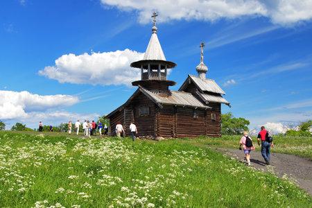 onega: Chapel of the Archangel Michael on island Kizhi on lake Onega, Russia