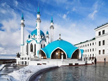 Qolsharif Mosque in Kazan Kremlin in winter, Tatarstan, Russia