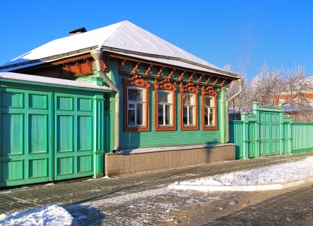 Russian wooden house at winter in Kolomna, Russia