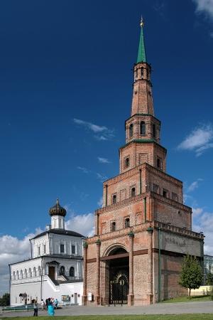 Soyembika Tower and Palace Church in Kazan Kremlin, Tatarstan, Russia photo