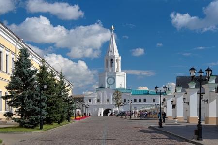 spasskaya: The Spasskaya Tower of the Kazan Kremlin, Tatarstan, Russia Stock Photo