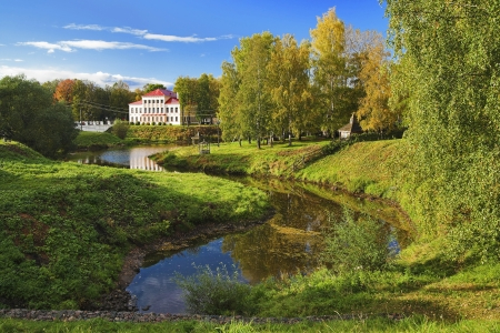 Autumn landscape with a building in classical style, Uglich, Russia