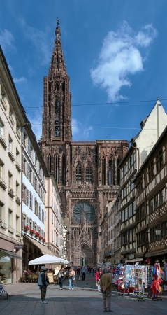 rue: View on the west facade of Strasbourg Cathedral from Rue Merciere, France