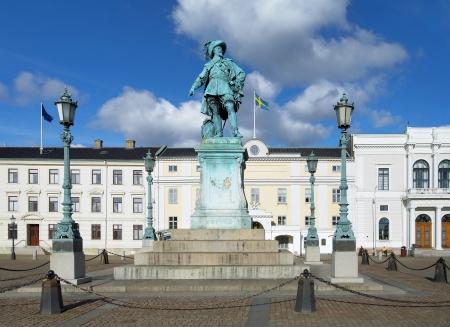 Monument voor Zweedse koning Gustav II Adolf in Göteborg, Zweden Stockfoto