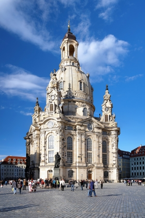 Frauenkirche and Monument to Martin Luther in Dresden, Germany