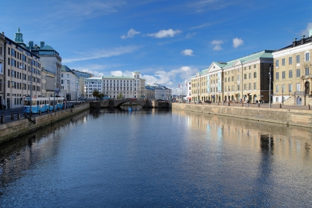 View of the Big Harbor Canal in Gothenburg, Sweden
