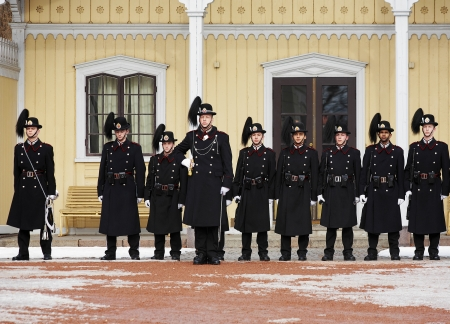 Changing of Royal Guards at the Royal Palace in Oslo, Norway