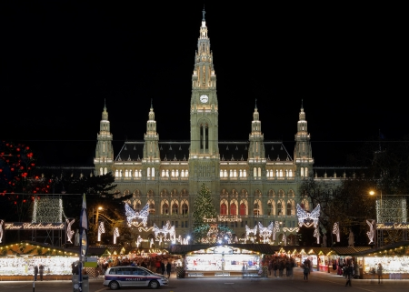 Vienna City Hall with Christmas Market, Austria