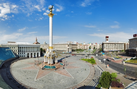 maidan: Independence Square with monument to Berehynia in Kyiv, Ukraine Editorial