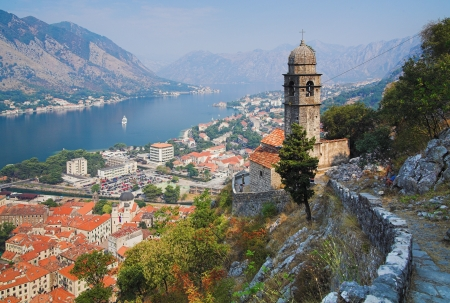 kotor: View of the Bay of Kotor, Montenegro Stock Photo