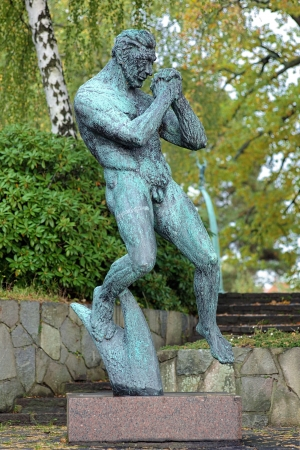 carl: Man Praying Sculpture by Carl Milles in Millesgarden sculpture garden in Stockholm, Sweden