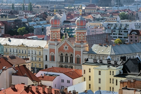 Plzen, View of the Great Synagogue from the Cathedral of St  Bartholomew, Czech Republic photo