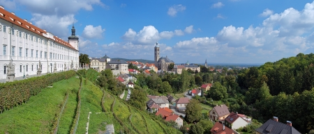 Panorama of Kutna Hora with Jesuit College and St James Church, Czech Republic photo