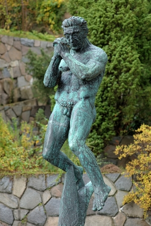carl: The Man Praying sculpture by Carl Milles in Millesgarden sculpture garden in Stockholm, Sweden