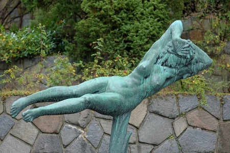 carl: The Hovering Woman sculpture by Carl Milles in Millesgarden sculpture garden in Stockholm, Sweden