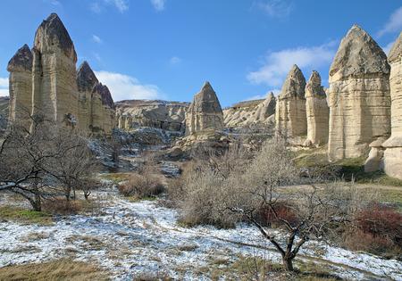 goreme: Cappadocia, Stone columns in Gorcelid Valley near the town Goreme, Turkey
