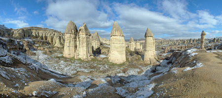 Panorama of Gorcelid Valley near the town Goreme in Cappadocia, Turkey