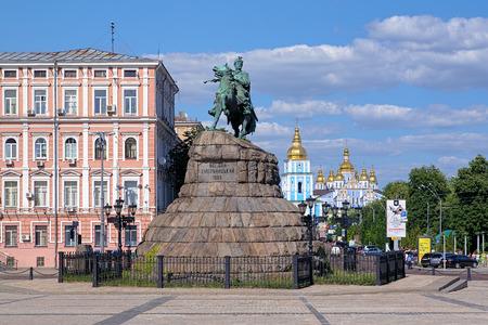 Monument of Bohdan Khmelnytsky and St Michael Golden-Domed monastery in Kiev, Ukraine