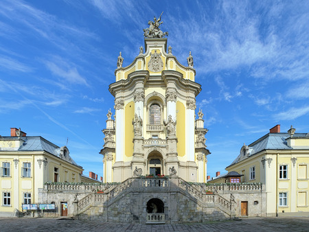 catholic church: Facade of St George Cathedral in Lviv, Ukraine Stock Photo