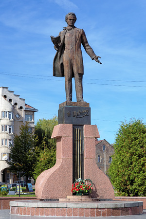 national poet: Monument of Taras Shevchenko in Drohobych, Lviv Oblast, Ukraine
