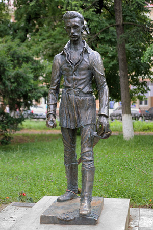 national poet: Monument of Sandor Petofi, a Hungarian poet and liberal revolutionary, in Uzhhorod, Transcarpatia, Ukraine