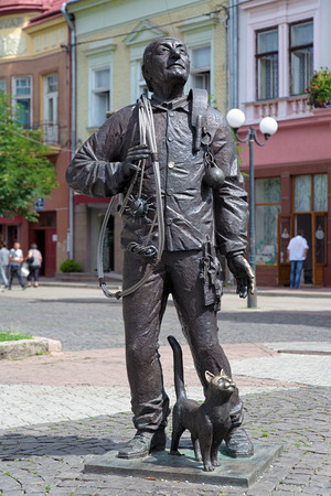 sweeper: Monument of the Happy Chimney Sweeper in Mukacheve, Transcarpatia, Ukraine