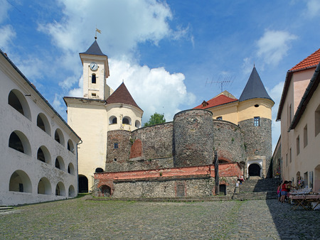 Courtyard of Palanok castle in Mukacheve, Transcarpathia, Ukraine