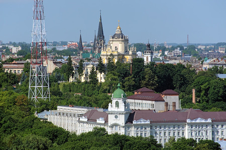 View of St George Cathedral and Church of St Olha and Elizabeth in Lviv, Ukraine Фото со стока