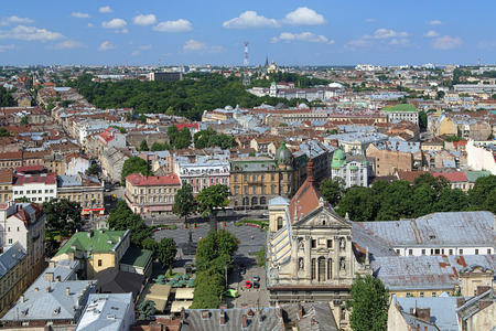 jesuit: View of Lviv from the tower of Lviv City Hall with Jesuit Church on the foreground, Ukraine Stock Photo