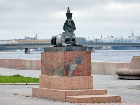 repression: The Sphinx with half skull face - element of the Monument to the victims of political repression by Mikhail Shemyakin in St  Petersburg on the embankment of the Neva river, Russia Editorial