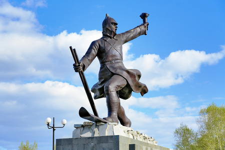 participants: Monument to the participants of the ice transition Khabarovsk - Komsomolsk-on-Amur in 1934, Komsomolsk-on-Amur, Far East, Russia