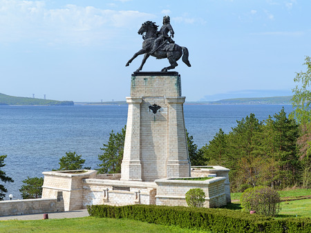 vasily: Monument of Vasily Tatishchev on the banks of the Volga river at Togliatti, Russia